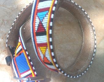 Masai belt, Leather belt, Beaded belt, Handmade belt, Maasai beaded leather belt, African beaded belt, Men belt, Casual belt, Boho belt