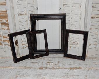 Distressed Black Frames Open Frames Rustic Primitive Country Decor