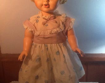 """Vintage 23"""" Standing Doll, Vintage Clothing, Open Shut Eyes, Feed and Wet, Dress, Underclothing, Socks and Shoes"""