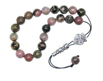 D-0107 - Greek Style Loose Strung Worry Beads 10mm Rhodonite Gemstone Beads Handmade by Jeannieparnell