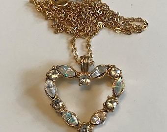18K Gold Plated Rhinestone Heart Necklace