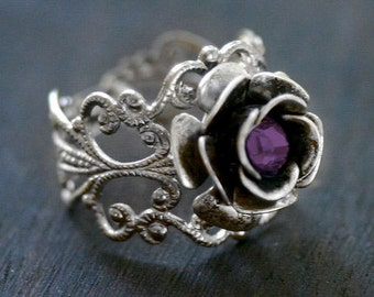 Amethyst Rose Ring