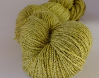 Hand dyed yarn. alpaca, silk and cashmere, naturally dyed, green - yellow, WASCH/G/1