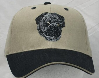 Pug, Embroidered Twill Cap