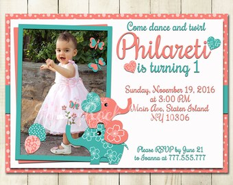 Birthday party digital photo invitation baby girl printable photograph invite coral turquoise elephant personalized DIY card hearts balloons