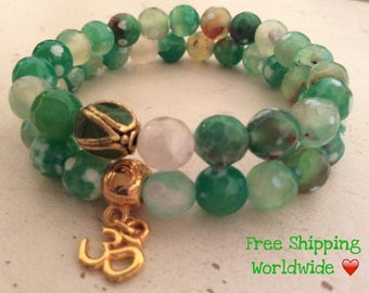 Mala Bracelet, Mala Beads, Mala Beads Bracelet, OM Bracelet, Healing Bracelet, Beaded Bracelet, Set of 2 Bracelets, Energy Bracelet, Love