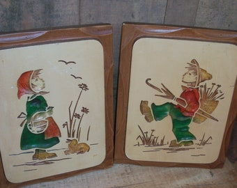 Pair of Vintage Ceramic Wall Plaques Tiles Boy and Girl Dutch Decor