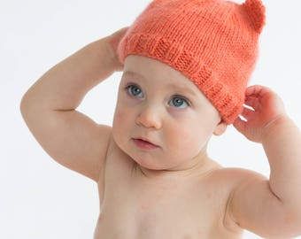 Baby beanie - bear ears / watermelon coral pink hand knitted bonnet hat / baby newborn 0-4 4-12 months / baby shower gift girl