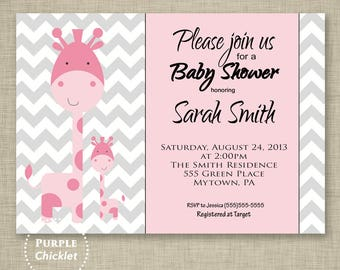Giraffe Baby Shower Invitation Cute Giraffe Invitation Mommy and Baby Invite Kids Pink Gray Chevron Invite 5x7 Printable Digital Invite (15)