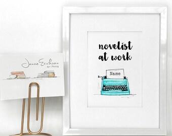Novelist at Work - Custom Writer Artwork - Office Wall Art - Writer Decor - Teal Typewriter