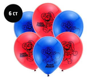"Super Mario Brothers Balloons [6ct] 12"" Latex Video Gamer Birthday Party Decorations Supplies"