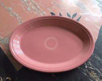 """9 1/2"""" by 13 3/4"""" Large Oval Fiesta Pink Platter Homer Laughlin China Co. USA"""