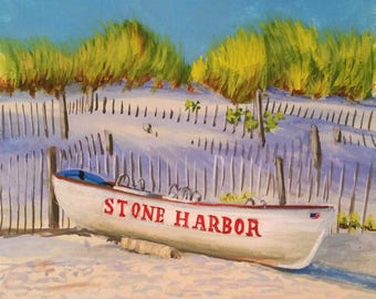 Stone Harbor NJ Lifeguard Boat New Jersey original painting gouache on paper framed
