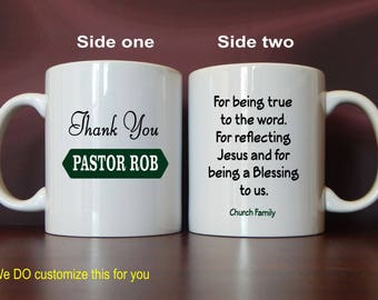 Pastor Fathers Day Gift - Gifts for Pastor - Personalized Coffee Mug from Church - Pastor Ordination Anniversary Gift, MST05