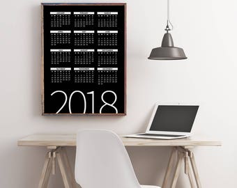 2018 Yearly Wall Planner, 2018 Calendar, Printable Calendar 2018, Desk Calendar PDF Download, Digital Monthly Wall Calendar, Calendar Poster