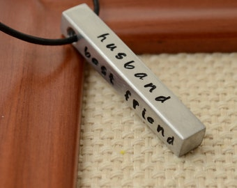 Personalized Alluminum Bar Necklace, Hand Stamped Necklace for Men Husband Son Father Dad Boyfriend Gift