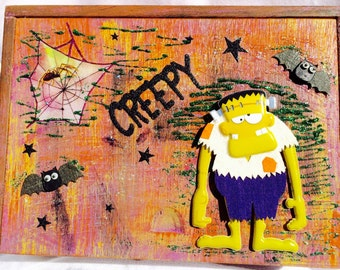 Scary Frankinstein Halloween Decorated Box