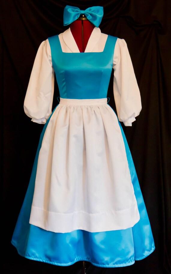 & DELUXE Adult Blue BELLE Blue Provincial Costume CUSTOM Size