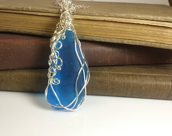 Wire Wrapped Blue Sea Glass