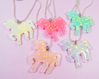 Unicorn Star Glitter Necklace - Hot Pink, Light Pink, Lilac, White, Light Blue