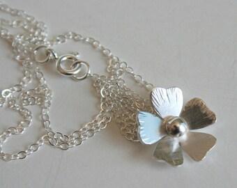 Rustic Silver Poppy Necklace, Silver Poppy Jewelry, Poppy Jewelry, Silver Flower Necklace, Silver Flower Jewelry, Pretty Flower Necklace