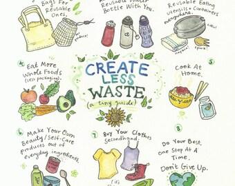 Create Less Waste - illustration print