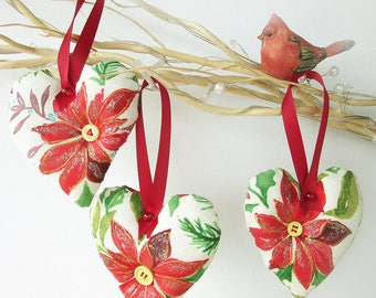 Red and Green Christmas Decorations - Heart ornaments - Set of 3 - Xmas Tree ornaments