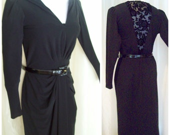 Vintage black evening dresses, long sleeve sexy dress, fancy dresses,  80s size S M