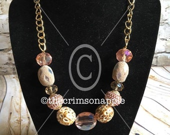 Gold, pastel pink, crystal, chain statement necklace