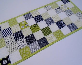 Quilted Table Runner in Contemporary Colors, Urban Quilted Table Topper, Modern Table Runner in Black White Lime, Coffee Table Runner Quilt