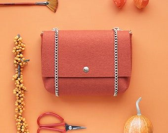 Orange Terracotta 100% Merino Wool Felt Crossbody Clutch Bag Purse  Woolberry