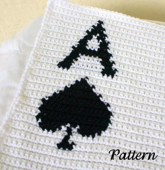 Ace of Spades afghan PDF crochet PATTERN blanket white black