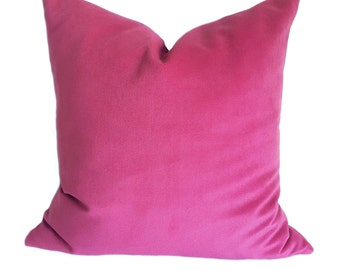 Pink Velvet Pillow Case, Purple Velvet Throw Pillow Cover, Soft Velvet Cushion, Hot Pink Pillow Cover, Plum Pillow, Velvet Candy Pink Case