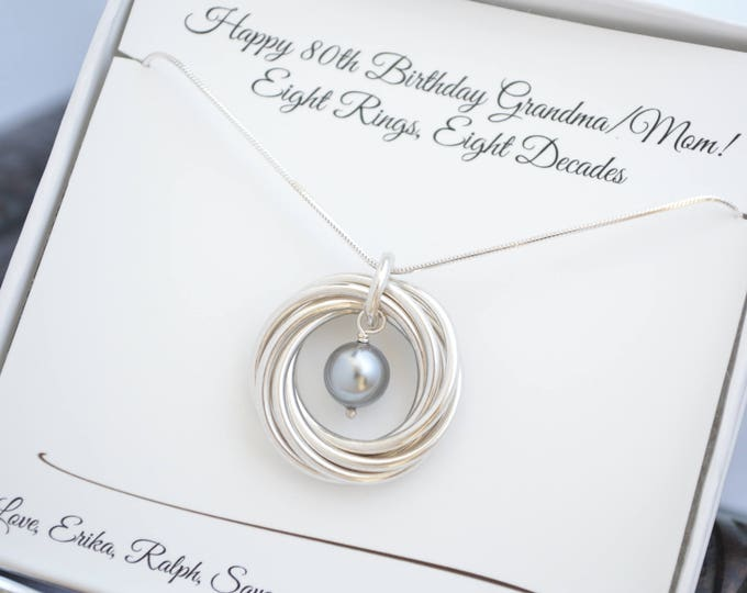 80th Birthday gift for mom and grandma, 8th Anniversary gift for women, Grey pearl necklace, 8 Rings necklace, 80th Birthday for nana