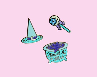 Sweet Witch Pin Collection - Mint and Gold Version