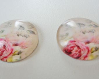 20mm Floral Glass Cabochon