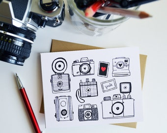 Set of Four Camera Folded Note Cards, Stationery, Hand Drawn, Illustration, Photography, Vintage Camera