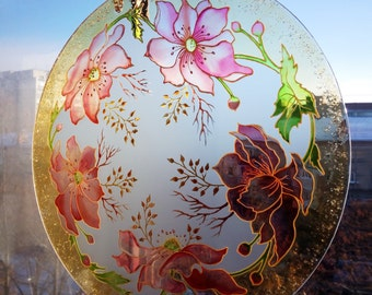 The Japanese Anemone, flowers painting, painting on glass, Stained-glass paintings, stained glass suncatcher, window hanging