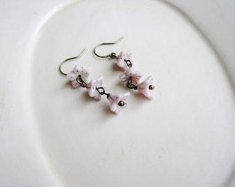 Pink Czech Glass Bead Earrings, Pink Jewelry, Floral Earrings, Czech Glass Earrings, Flower Earrings, Flower Jewelry, Botanical Earrings