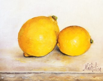 Lemons Original Oil Painting of Two Lemons Still Life by Nina R.Aide Still Life Kitchen Art Small Daily Painting Home Wall Decor