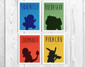 Pokemon Starter Minimalist Print Set - Pokemon Wall Art - Pikachu - Charmander - Squirtle - Bulbasaur - Available In Many Sizes