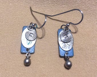 Vintage Layered Earrings, Eclectic Blue & Silver Earthy Indian Style Layered Pierced Earrings Silver Boho Spiral Hammered Dangle Earrings