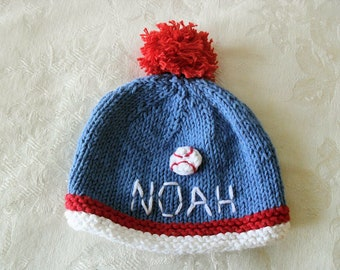 Baby Hat Knitting Knit Baby Hat Knitted baby hat Personalized Baby Boy Name Hat Baseball Beanie cotton knitted  baby hat Baby Boy Beanie