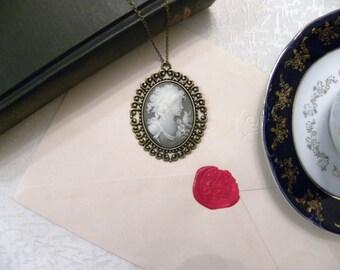 Victorian Lady Grey Cameo Necklace (Bronze) - Goddess (Glossy)