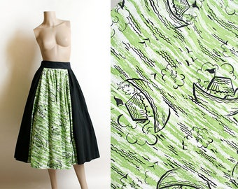 Vintage 1950s Circle Skirt - Novelty Print of Noah's Ark - Horse Boat in Grass Green Water Waves - Black Panel - Rockabilly Style - Small