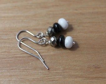 Pyrite, black onyx and white howlite earrings