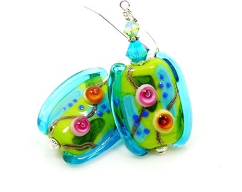 Blue Abstract Earrings, Colorful Earrings, Teal Blue Lime Earrings, Lampwork Earrings, Glass Bead Earrings, Glass Earrings, Unique Earrings