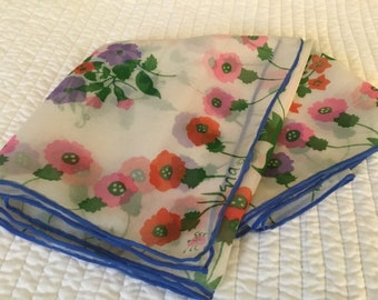 "Vintage Vera ""Verasheer"" Silk Scarf Long Sheer Chiffon Florals Colorful Hand Rolled Blue Edges 1960's"