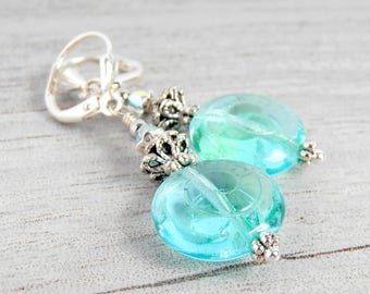 Aqua Glass Dangle Earrings, Blue Green Glass Bead Earrings, Handmade Jewelry, Beach Vacation Earrings, Summer Earrings, Gift for Girlfriend