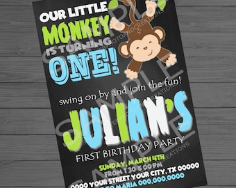 Monkey Birthday Invitation, Our Little Monkey 4x6 Invitation
